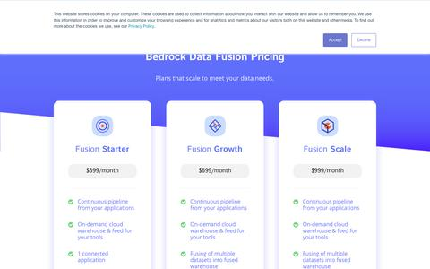 Screenshot of Pricing Page bedrockdata.com - Fusion - Get Your Free Trial | Automate Your Data Pipeline | fusion.bedrockdata.com - captured June 11, 2018