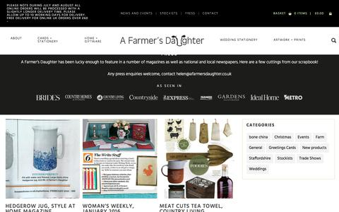 Screenshot of Press Page afarmersdaughter.co.uk - A Farmer's Daughter Rural greetings cards, gifts and country wedding stationery. - captured July 16, 2018
