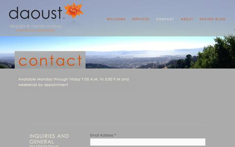 Screenshot of Contact Page daoustdc.com - Contact — daoust design and construction - captured Oct. 5, 2014