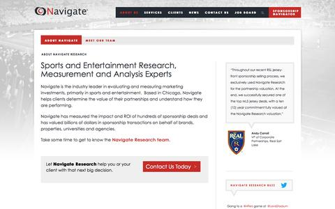 Screenshot of About Page navigateresearch.com - Navigate Research: Sports and Entertainment Research, Measurement and Analysis Experts - captured Sept. 30, 2014