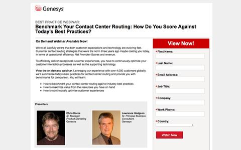 Screenshot of Landing Page genesys.com - Webinar - Benchmark Your Contact Center Routing: How Do You Score Against Today's Best Practices? - captured Aug. 17, 2016