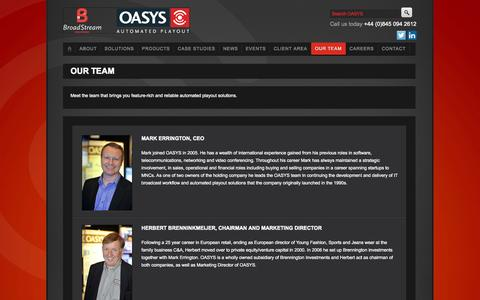 Screenshot of Team Page oasys.com - Our Team - captured Oct. 7, 2014