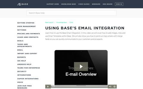 Screenshot of Support Page getbase.com - Using Base's Email Integration – Base Support - captured Oct. 9, 2018