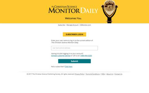 Screenshot of Login Page csmonitor.com - The Christian Science Monitor - Daily News Briefing - captured June 20, 2017
