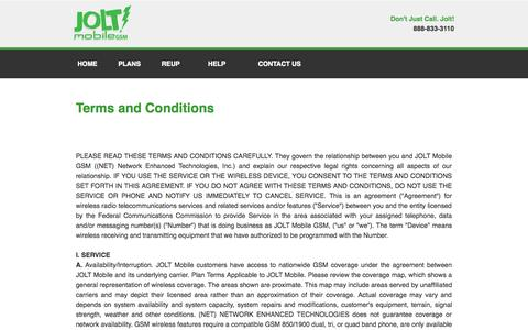 Screenshot of Terms Page joltmobile.com - Jolt MobileTM | Low Cost Wireless Provider and Cell Phone Plans - captured Oct. 29, 2014