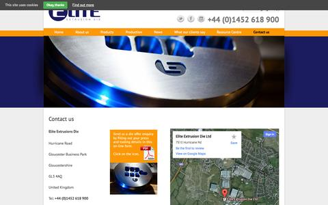 Screenshot of Contact Page elitedie.eu - Contact us - Elite Extrusion Die - captured Oct. 2, 2014