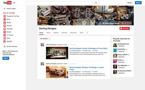 Screenshot of YouTube Page youtube.com - Darling Designs  - YouTube - captured Oct. 23, 2014
