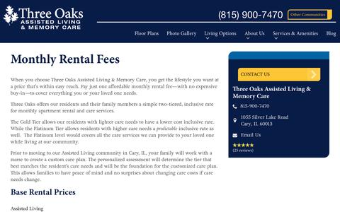 Screenshot of Pricing Page spectrumretirement.com - Monthly Rental Pricing   Three Oaks Assisted Living & Memory Care - captured Oct. 23, 2018