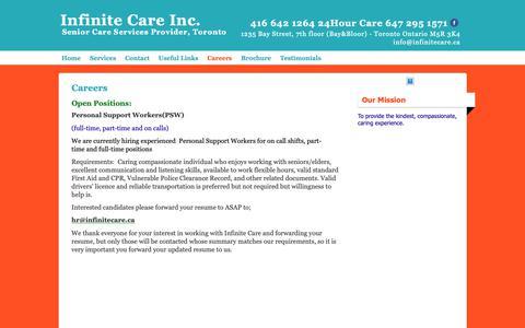 Screenshot of Jobs Page infinitecare.ca - Careers at Infinite Care, jobs - captured Nov. 12, 2018