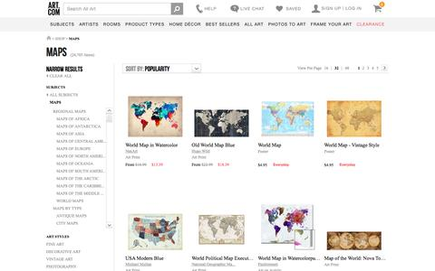 Screenshot of Maps & Directions Page art.com - Maps, Posters and Prints at Art.com - captured March 3, 2017