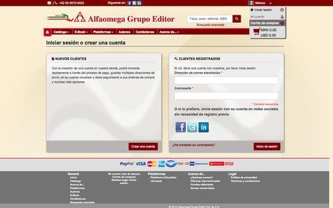 Screenshot of Login Page alfaomega.com.mx - Inicio de sesión del cliente - captured Nov. 2, 2014
