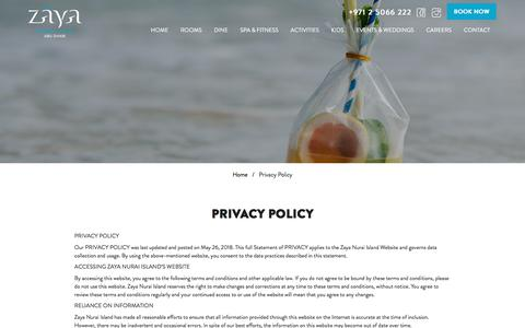 Screenshot of Privacy Page zayanuraiisland.com - Contact Zaya Nurai Island Abu Dhabi - captured Sept. 20, 2018