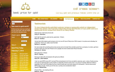 Screenshot of Testimonials Page bestpriceforgold.co.uk - Scrap Gold Buying Service | Customer Reviews | Best Price for Gold - captured Feb. 7, 2016