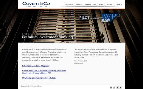 Screenshot of Home Page covertandco.com - Covert & Co. - captured Oct. 3, 2014