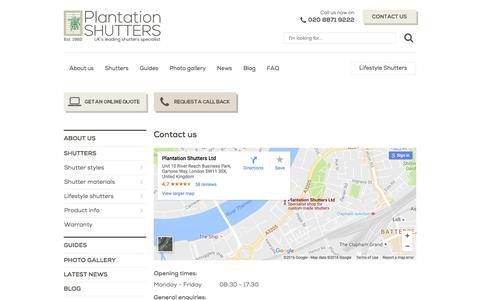 Screenshot of Contact Page plantation-shutters.co.uk - Contact us | Plantation Shutters | Window Shutters London UK - captured Nov. 8, 2016