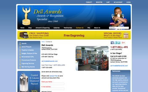 Screenshot of Contact Page dellawards.com - Dell Awards - San Diego Awards – Contact Us - captured Sept. 30, 2014