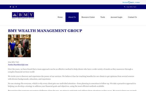 Screenshot of About Page bmywealth.com - About Us | BMY Wealth Management Group - captured Oct. 4, 2018