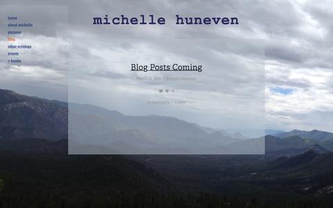 Screenshot of Blog michellehuneven.com - Blog — Michelle Huneven - captured May 23, 2016