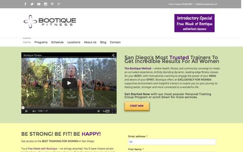 Screenshot of Home Page bootiquefitness.com - Fitness & Personal Training in San Diego | Zumba & Bootcamp in San Diego – Bootique Fitness - captured Jan. 6, 2016
