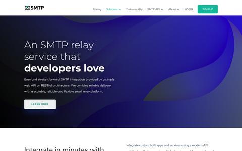 Screenshot of Developers Page smtp.com - SMTP - For Developers - SMTP - captured Oct. 25, 2019