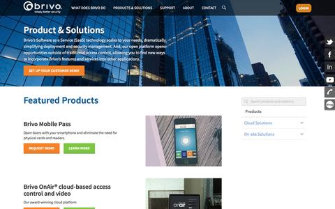 Screenshot of Products Page brivo.com - Products & Solutions - Brivo - captured Feb. 8, 2016