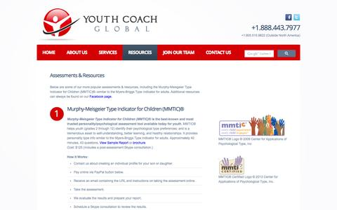 Screenshot of Products Page youthcoachglobal.com - Youth Coach Global > Assessments and Resources - captured Oct. 27, 2014