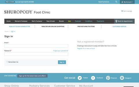 Screenshot of Login Page shuropody.com - Sign in - captured July 13, 2018