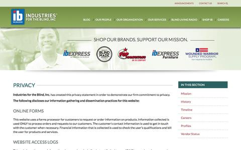 Screenshot of Privacy Page ibmilw.com - Privacy | IB Milwaukee - Industries for the Blind - captured Nov. 4, 2014