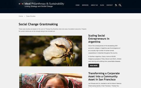 Screenshot of Case Studies Page idealphilanthropy.com - Case Studies | Ideal Philanthropy & Sustainability - captured Oct. 6, 2014