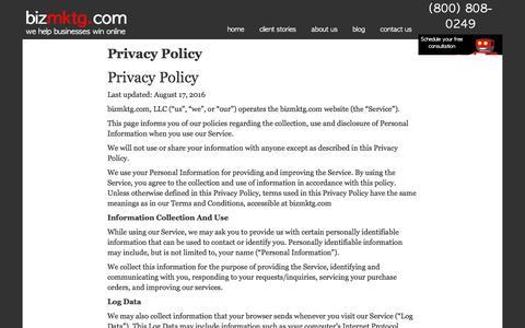 Screenshot of Privacy Page bizmktg.com - Privacy Policy - bizmktg.com | bizmktg.com - captured Oct. 10, 2017