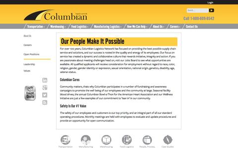Screenshot of Jobs Page columbianlogistics.com - Careers | Columbian Logistics | Transportation | Grand Rapids, MI - captured Oct. 8, 2014