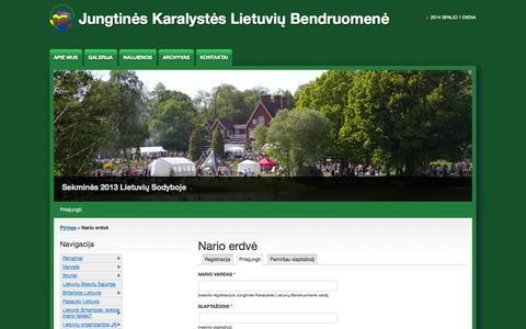 Screenshot of Login Page jklb.org - Nario erdvė   Jungtinės Karalystės Lietuvių Bendruomenė - captured Oct. 1, 2014