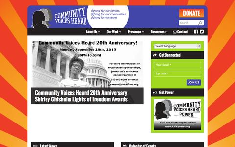 Screenshot of Home Page cvhaction.org - Community Voices Heard | fighting for our families,fighting for our communities,fighting for ourselves - captured Sept. 24, 2015
