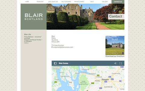 Screenshot of Privacy Page blairestate.com - Blair Estate Scotland | Contact Details - captured Oct. 6, 2018