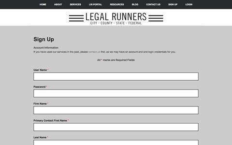 Screenshot of Signup Page legalrunnersinc.com - Sign Up - captured Sept. 23, 2014