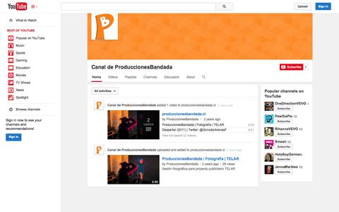 Screenshot of YouTube Page youtube.com - Canal de ProduccionesBandada  - YouTube - captured Oct. 23, 2014