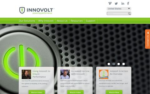 Screenshot of Home Page innovolt.com - Intelligent Electronics Protection - captured July 17, 2014