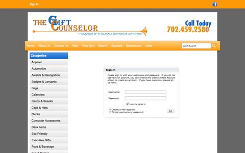 Screenshot of Login Page giftcounselor.com - The Gift Counselor   Las Vegas  Promotional Products - Sign In - captured Oct. 7, 2014