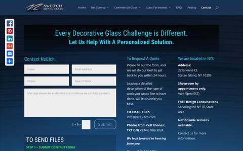 Screenshot of Contact Page nuetch.com - NuEtch Art for Glass & Decorative Window Film Installers - captured Feb. 26, 2016