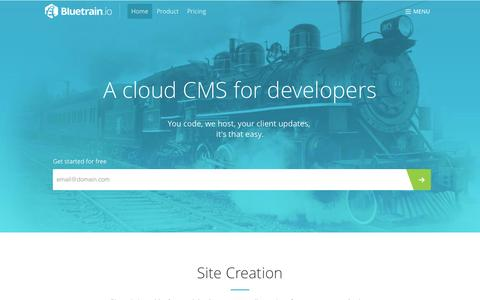 Screenshot of Home Page bluetrain.io - Professional Cloud CMS - Bluetrain.io - captured Sept. 24, 2014