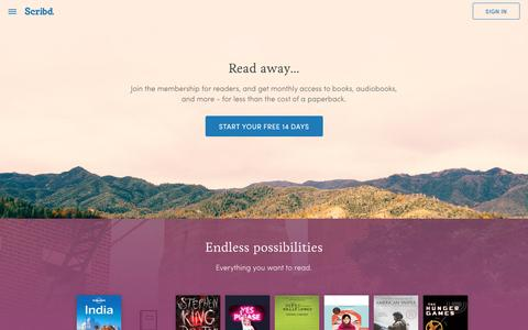 Screenshot of Home Page scribd.com - Scribd - Read books, audiobooks, and more - captured March 22, 2016