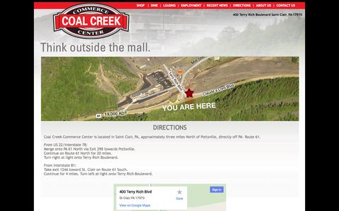 Screenshot of Maps & Directions Page coalcreekcc.com - Coal Creek Commerce Center Shop and Dine 17970 - captured Oct. 3, 2014