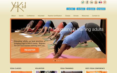 Screenshot of Home Page yokid.org - YoKid | Yoga for kids & teens in Washington DC, Maryland, & Virginia - captured Oct. 9, 2014