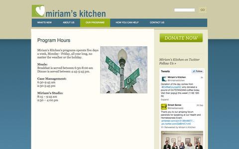 Screenshot of Hours Page miriamskitchen.org - Program Hours | Miriam's Kitchen - captured Oct. 1, 2014