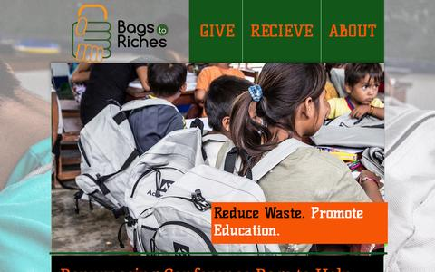 Screenshot of Home Page bagstoriches.org - Bags to Riches-Donating Unwanted and Extra Conference Bags - captured Sept. 30, 2014