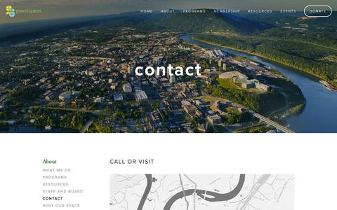 Screenshot of Contact Page greenspaceschattanooga.org - Contact — green|spaces - captured Nov. 2, 2014