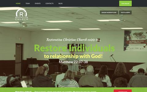 Screenshot of Home Page rccmo.com - Restoration Christian Church | Reconnecting Real People with a Real God - captured Jan. 26, 2015