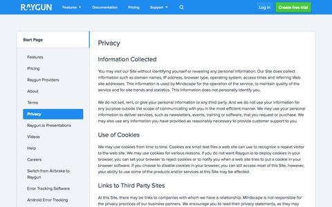 Screenshot of Privacy Page raygun.io - Privacy - raygun.io - captured Nov. 2, 2014
