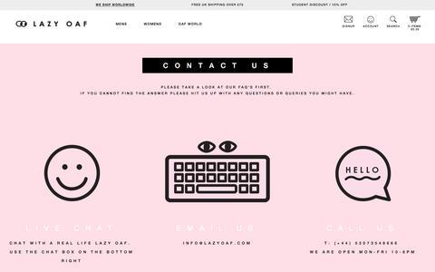 Screenshot of Contact Page lazyoaf.com - Contact Us - captured Dec. 8, 2015