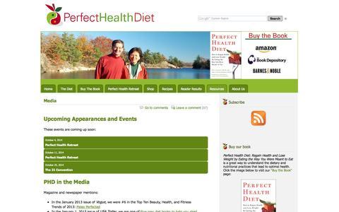 Screenshot of Press Page perfecthealthdiet.com - Media - Perfect Health Diet | Perfect Health Diet - captured Sept. 23, 2014